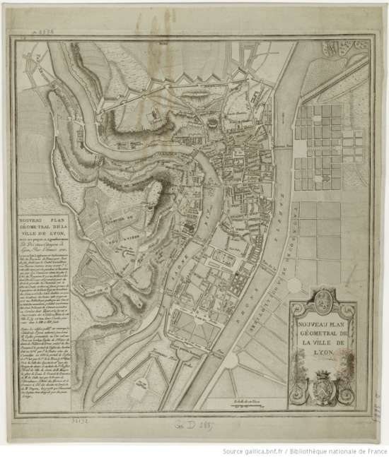 plan géométral de la ville de Lyon 1789 source gallica.bnf .fr